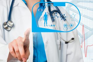 docter pointing at healthcare graphics